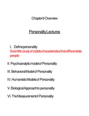 Chapter 9. Personality