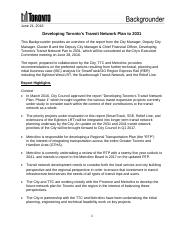 21 06 Developing Toronto's Transit Network Plan to 2031 - Backgrounder