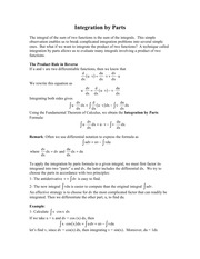 7.2 - Integration by Parts