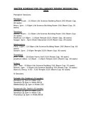 MASTER SCHEDULE FOR CELL BIOLOGY REVIEW SESSIONS FALL 2014