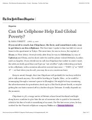 Cellphones - Third World and Developing Nations - Poverty - Technology - The New York Times