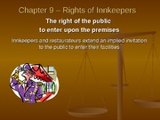 Chapter 9 - Rights of Innkeepers Powerpoint