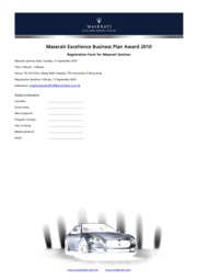 Maserati Award 2010 - Seminar Registration Form