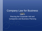 Topic 2 - Piercing the Corporate Veil and Company and Business Planning