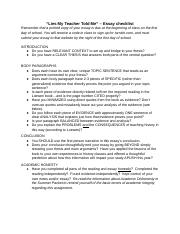 "lies my teacher told me documents course hero ""lies my teacher told me"" essay checklist """