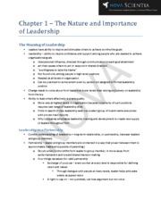 Chapter 1 - The Nature and Importance of Leadership