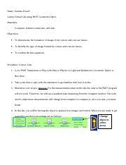 Labs doc - Name Tanieka Powell Lenses Virtual Lab using PhET