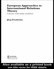 European approaches to IR theory