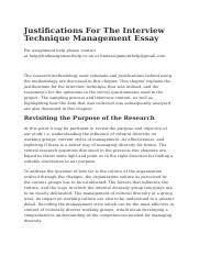 Justifications For The Interview Technique Management Essay