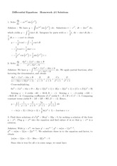 Homework A Solutions on Ordinary Differential Equations