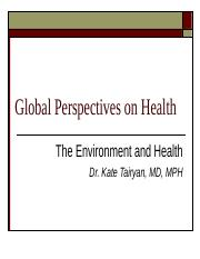 The Environment and Health