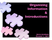 Lecture #4 - Organizing Information & Introductions