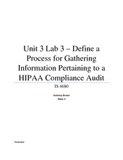 Unit 3 Lab 3 - Define a Process for Gathering Information Pertaining to a HIPAA Compliance Audit