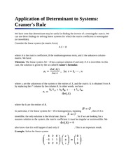 Application of Determinant to Systems Cramer's Rule