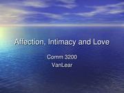 Communication of Affection Intimacy & love