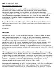Environmental Management Research Paper