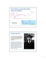 Week 5 Slides - Short Run Keynesian and Fiscal Policy