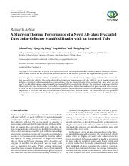 A Study on Thermal Performance of a Novel All-Glass Evacuated