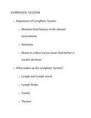 LYMPHATIC SYSTEM Class Notes