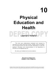 PE 1st Quarter Module - 10 Physical Education and Health