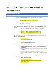 NOS 130-Lesson 4 Knowledge Assessment