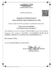 Ssm Certificate Pdf Borang D Kaedah 13 Perakuan Pendaftaran Akta