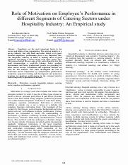 Motivation on employee's performance in hospitality