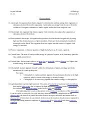 Photosynthesis AP bio study guide