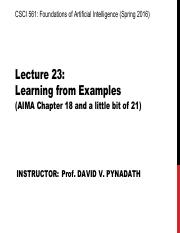 AI Spring 2016 Lecture 23
