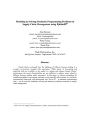 Modeling & Solving Stochastic Programming Problems in Supply Chain Management using Xpress-SP