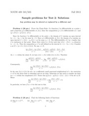 Sample Exam 2 Solution on Advanced Calculus 1