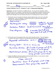 Proficiency Test 3 Solution on Concepts, representations, and algorithms for basic whole number oper