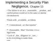 OUTLINE Ch 13 Implementing Security Plan_Facility Negligence