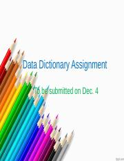 Data Dictionary Assignment(1)