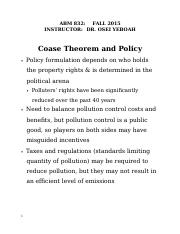 Coase Theorem and Policy