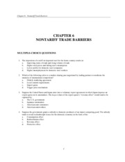 Chapter 6 Nontariff Trade Barriers  test
