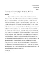 Summary and Response Paper: The Power of Dreams.docx