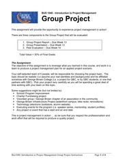 Project Management BUS1040 Group Project Instructions