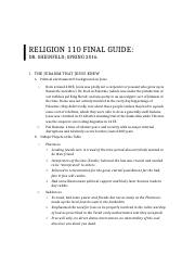 Religion 110 Final Study Guide