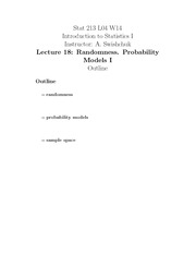 Stat 213 Probability Model Notes