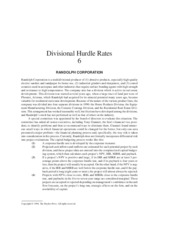 divisional hurdle rates randolph corporation Below is an essay on divisional hurdle rates randolph corporation case from anti essays, your source for research papers, essays, and term paper examples table of contents introduction randolph corporation is the producer of abrasive products, industrial grinders and sharpeners and coated ceramics for use in aerospace the company is.