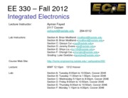 EE 330 Lect 1 Fall 2012