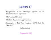 CHEM 4502 - Lecture Overhead 17 - 2012