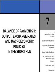 CHAPTER 7 BALANCE OF PAYMENTS II OUTPUT, EXCHANGE RATES, AND MACROECONOMIC POLICIES IN THE SHORT RUN