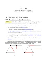 MATH 423 Chapter 10 Notes
