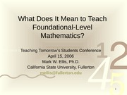 2006 What is Foundational Level Mathematics presentation