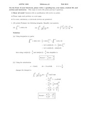 Exam 1 Fall 2012 Solution on Calculus 2 for Engineers
