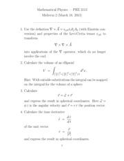 Midterm Exam 2 on Mathematical Physics
