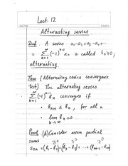 Lecture 12 - Alternating Series