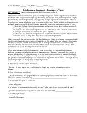 Done)Properties of Water Reinforcement Worksheet.doc - Name ...